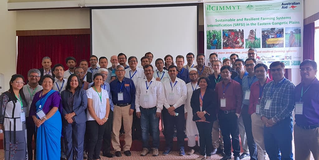 Participants in the five-year workshop for the SRFSI project in Kathmandu in May 2019 stand for a group shot. (Photo: CIMMYT)