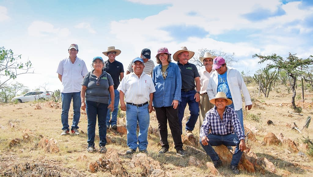 Denise Costich (center, pink hat) stands with members of the Totomoxtle project in Tonahuixtla. (Photo: Provided by Denise Costich/CIMMYT)