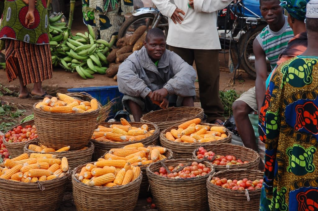 Maize and other food crops on sale at Ijaye market, Oyo State, Nigeria. (Photo: Adebayo O./IITA)