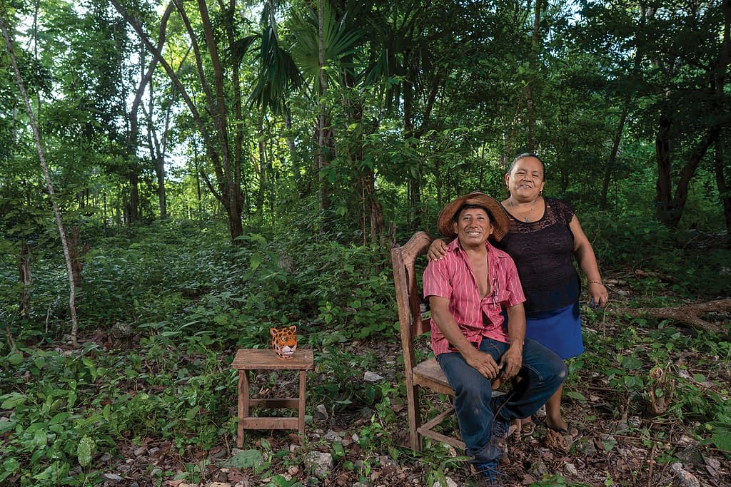 """Miguel Ku Balam (left), from Mexico's Quintana Roo state, cultivates the traditional Mesoamerican milpa system. """"My family name Ku Balam means 'Jaguar God'. I come from the Mayan culture,"""" he explains. """"We the Mayans cultivate the milpa for subsistence. We don't do it as a business, but rather as part of our culture — something we inherited from our parents."""" (Photo: Peter Lowe/CIMMYT)"""