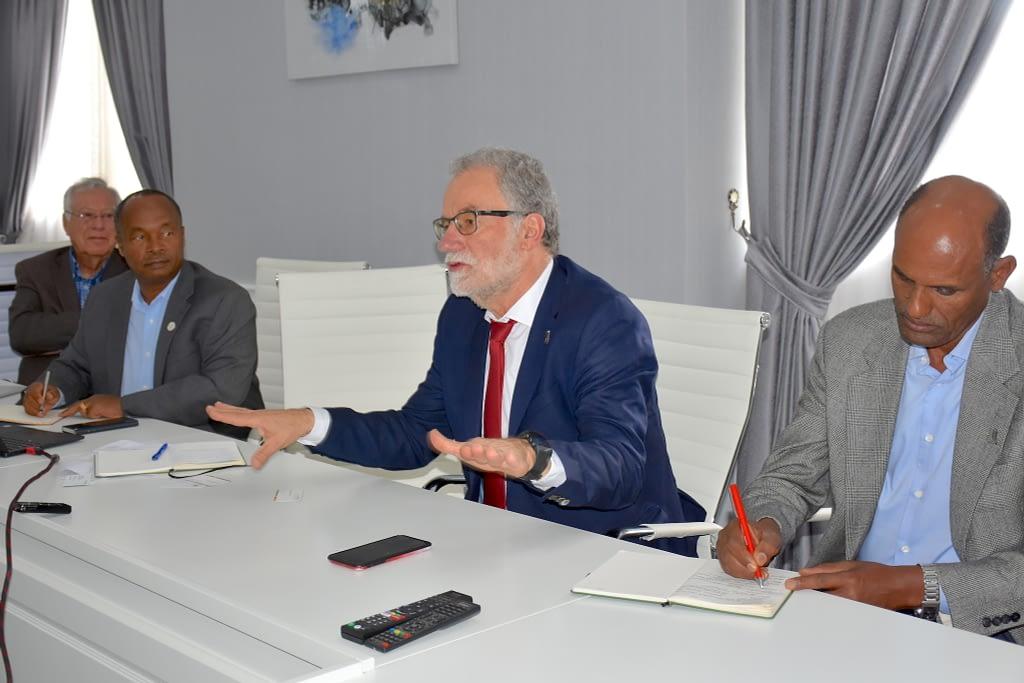 Hans Braun (center), director of CIMMYT's Global Wheat Program, speaks at the meeting. (Photo: Simret Yasabu/CIMMYT)