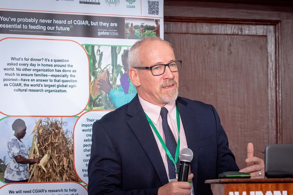 """Joseph DeVries, President of Seed Systems Group, addresses participants at the """"Gender dynamics in seed systems in sub-Saharan Africa"""" workshop. (Photo: Kipenz Films/CIMMYT)"""