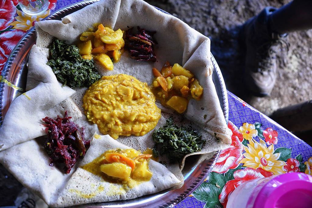 Injera, an Ethiopian sourdough flatbread made from wholegrain teff flour. (Photo: Rod Waddington)
