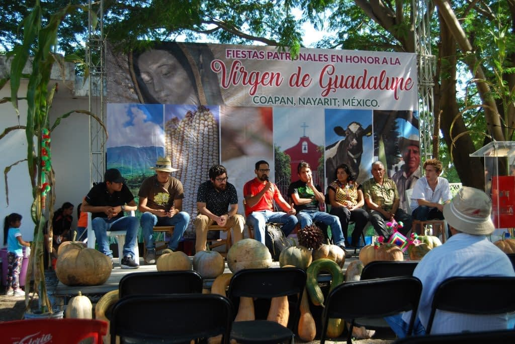 Youth panel discussion at the Feria de la Mazorca del Maize Nativo with Carolina Camacho, CIMMYT (third from right). (Photo: Denise Costich/CIMMYT)