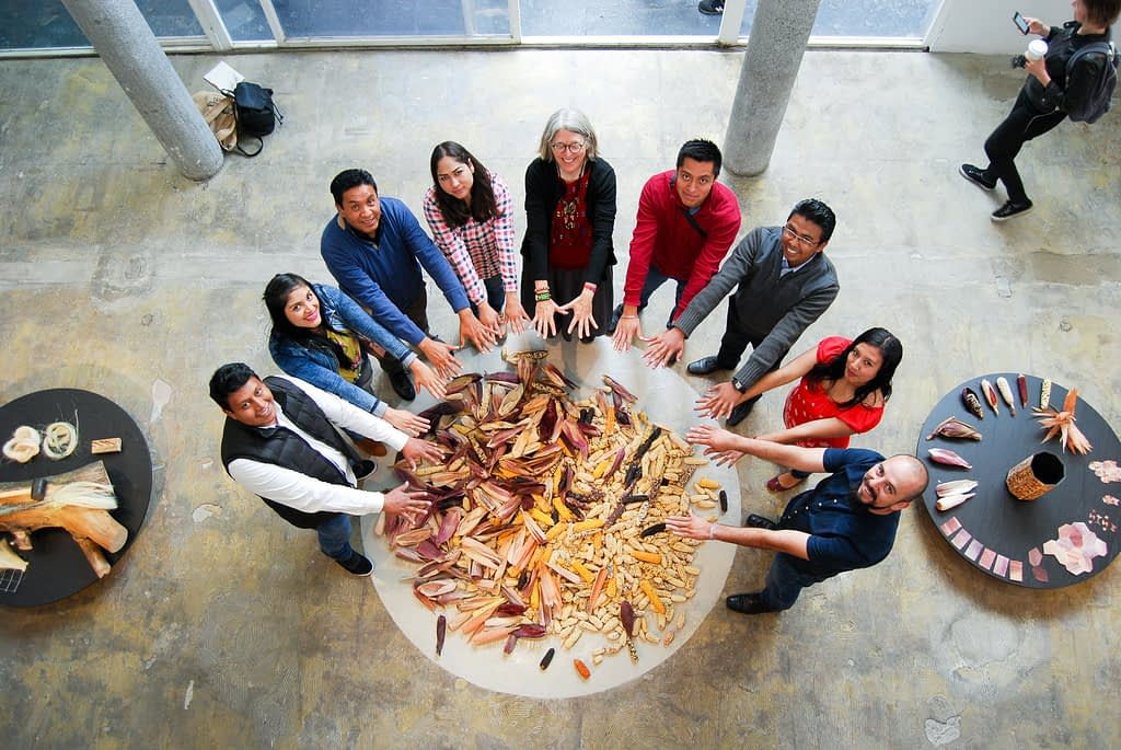 Members of the CIMMYT Germplasm Bank team stand for a photo with a variety of landraces at an exhibition of the Totomoxtle project in Mexico City. (Photo: Emilio Diaz)