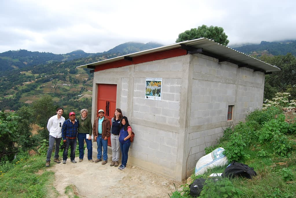 Visiting one of the oldest community seed reserves in the region, Quilinco, Huehuetenango, Guatemala, in 2016. From left to right: Pedro Bello (UC Davis), Esvin López (local collaborator), Denise Costich, José Luis Galicia (Buena Milpa), Ariel Rivers (CIMMYT) and Miriam Yaneth Ramos (Buena Milpa).