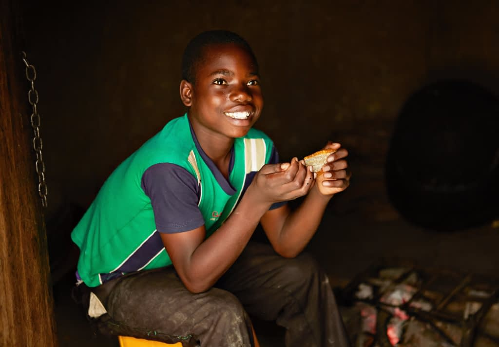 A 2015 study published in The Journal of Nutrition found that vitamin A-biofortified orange maize significantly improves visual functions in children, like night vision. (Photo: Libby Edwards/HarvestPlus)