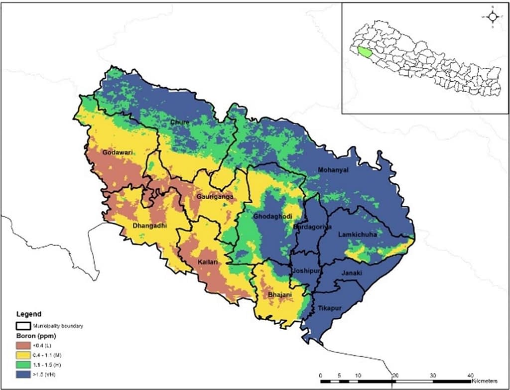 A digital soil map developed by the NSAF project shows medium to high boron deficiency in Kailali district and the surrounding area. (Map: CIMMYT)