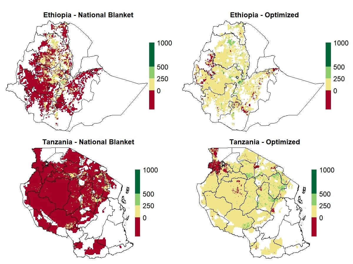 Profitability under different fertilization recommendation scenarios in Ethiopia and Tanzania, measured in U.S. dollars per hectare.
