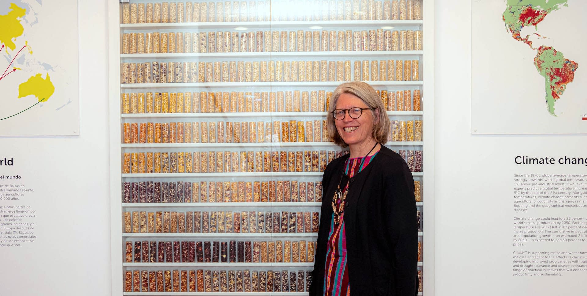 Denise Costich stands for a photo during the inauguration of the CIMMYT Genebank museum in 2019. (Photo: Alfonso Cortés/CIMMYT)