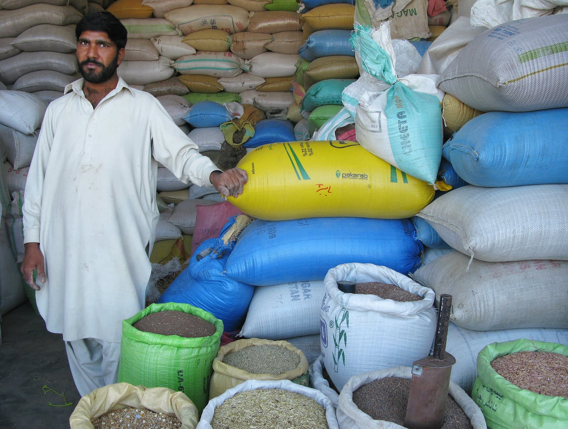 A seed vendor near Islamabad, Pakistan. For improved crop varieties to reach the farmers who need them, they usually must first reach local vendors, who form an essential link in the chain between researchers, seed producers and farmers. (Photo: M. DeFreese/CIMMYT)