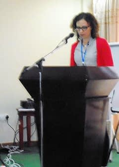 Jennifer Bloom, second secretary for food security and agricultural growth for DFATD, addresses the trainees.