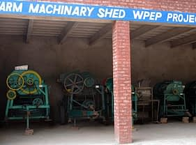 Wheat Productivity Enhancement Program (WPEP) Farm Machinery Shed at the Wheat Research Institute, Faisalabad. Photo by Miriam Shindler.