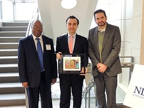 Stephen Mugo, CIMMYT; Jesús Madrazo, Monsanto; and John McMurdy, USAID, members of the WEMA Partnership at the ND-GAIN Award program. Photo: Courtesy of Monsanto