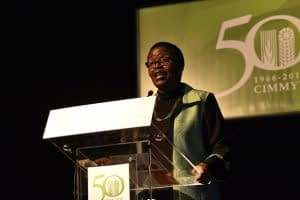 Lindiwe Majele Sibanda of the Food, Agriculture and Natural Resources Policy Analysis Network delivers a presentation at the CIMMYT 50th anniversary conference. CIMMYT/Alfonso Cortes