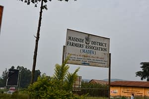 A sign leading to the Masindi District Farmers Association (MADFA) offices in Masindi town. (Photo: Joshua Masinde/CIMMYT)