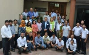 Martin Kropff and Nynke Kropff- Nammensma with CIMMYT-Bangladesh staff. Photo: Utam Barman/CIMMYT