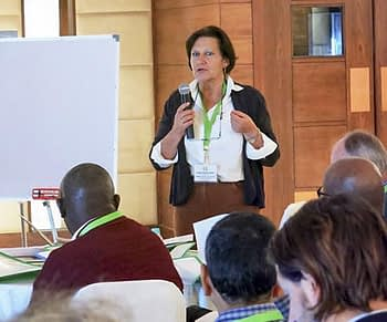 Irmgard Hoeschle-Zeledon, International Institute of Tropical Agriculture (IITA) from Africa RISING speaks at the event.