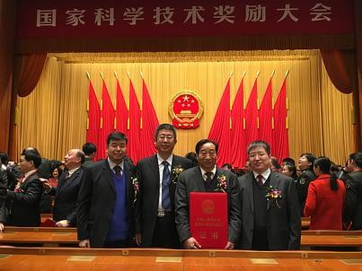 Award recipients (L-R) Minggang Xu, Shaokun Li, Ming Zhao, and Zhonghu He. Photo: CIMMYT
