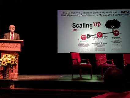 MSI's founder and president Larry Cooley presents at the Purdue Scale Up Conference 2018. (Photo: Rachel Cramer/CIMMYT)