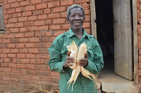 """""""Going forward, I will plant both local and drought-tolerant varieties for my family's consumption and sale, respectively. I sell the DT maize exclusively to the government and wholesalers, so I get a fair price. With this income, I can focus on other projects,"""" Mwanza said. Photo: Kelah Kaimenyi/CIMMYT"""