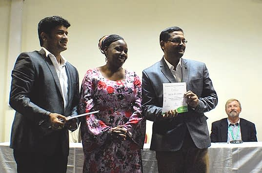 Certificate distribution to trainees: Sridhar Bhavani (CIMMYT), Immaculate Maina (Center Director, KALRO) and Saikat Das (trainee from India). Photo: Marianna Myer.