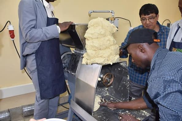 A milling machine for preparing nixtamalized maize dough was presented to KALRO through the Mexican Embassy. Photo: B. Wawa/CIMMYT