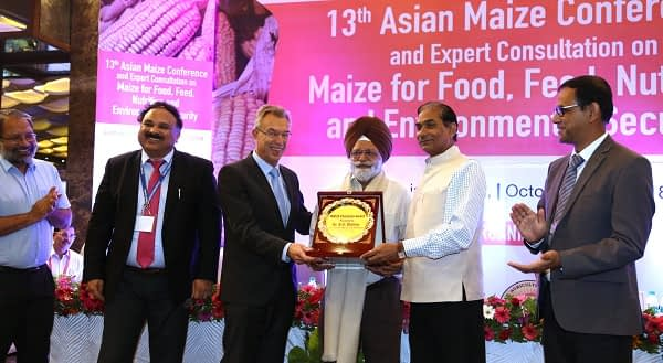 B.S. Dhillon, center, receives the MAIZE Champion Award for his pioneering work in maize breeding. Left to right: N.S. Bains, B.M. Prasanna, Martin Kropff, B.S. Dhillon, Trilochan Mohapatra, Sujay Rakshit. Photo: Manjit Singh/Punjab Agricultural University.