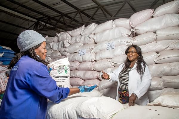 Sylvia Horemans (right) and a warehouse supervisor (left) inspect seeds at Kamano Seeds. (Photo: Lucy Maina/CIMMYT)