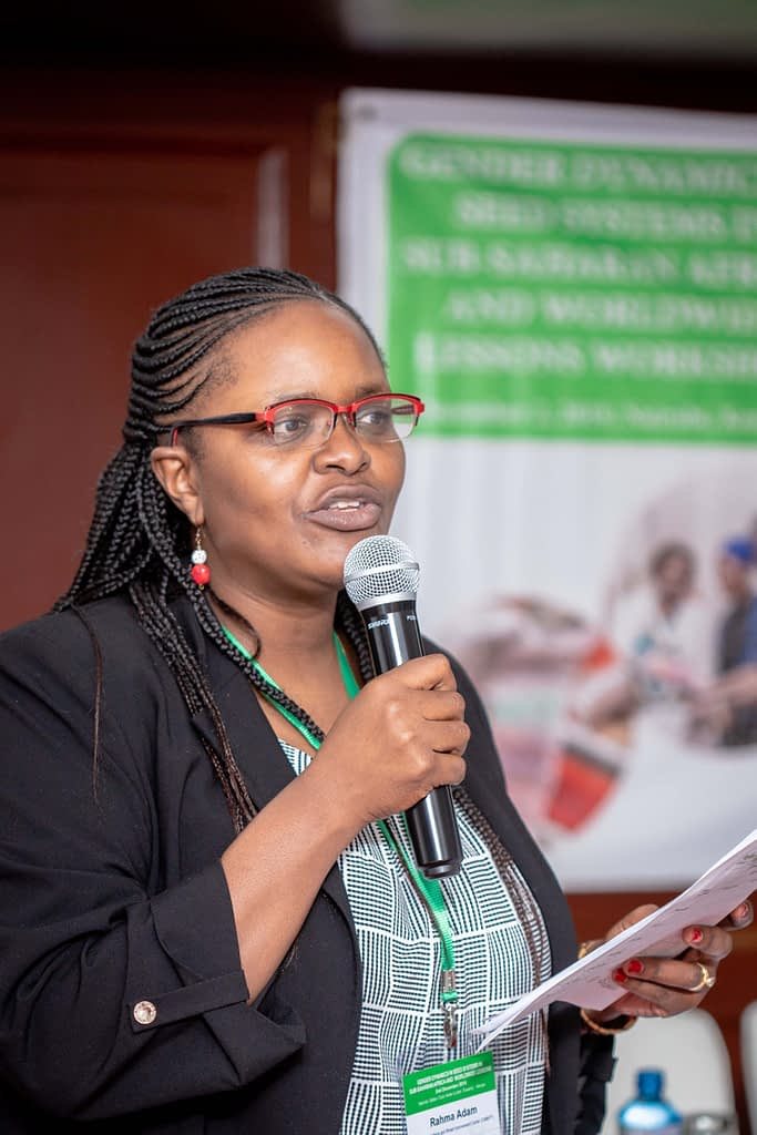 """CIMMYT's gender and development specialist Rahma Adam addresses participants at the """"Gender dynamics in seed systems in sub-Saharan Africa"""" workshop. (Photo: Kipenz Films/CIMMYT)"""