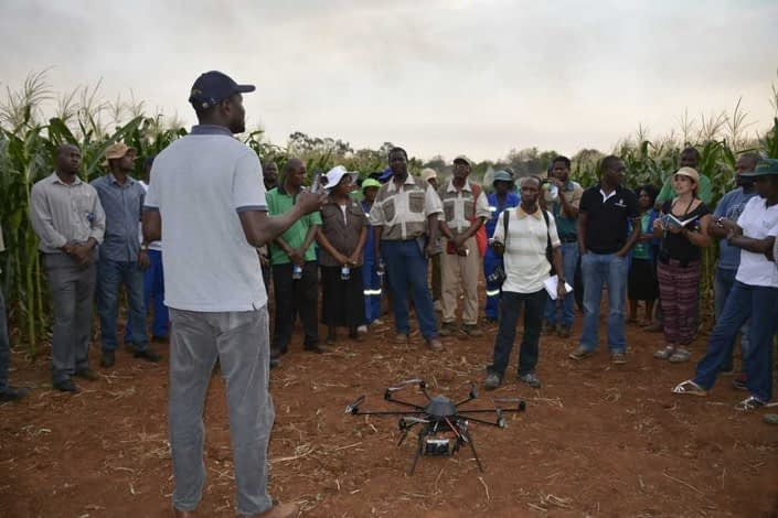 Mainassara Zaman-Allah conducts a demonstration of the use of unmanned aerial vehicles (UAV) at the Chiredzi research station in Zimbabwe.