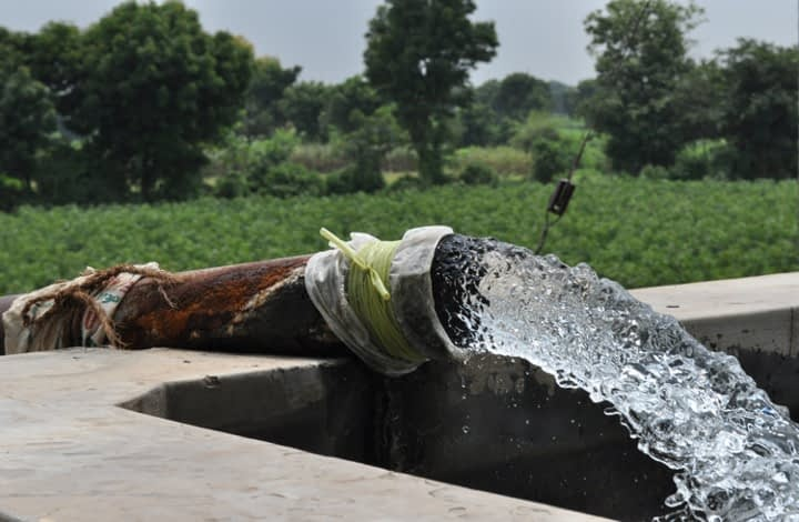 Water pumped from a deep irrigation well, called a tube well, at a wheat farm in west India's Gujarat state. (Photo: Meha Jain)