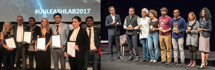 Agricultural and development economist Aziz Karimov (left photo, fifth from left) and soil scientist and systems agronomist David Guerena (right photo, fifth from left) represented CIMMYT at UNLEASH Innovation Lab 2017. (Photos: UNLEASH)