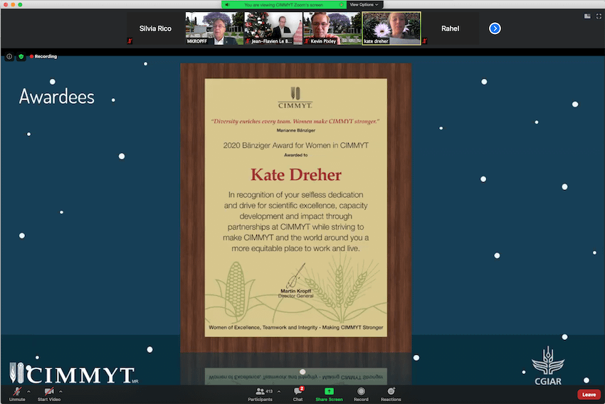 Kate Dreher receives her certificate during the virtual award ceremony. (Photo: CIMMYT)