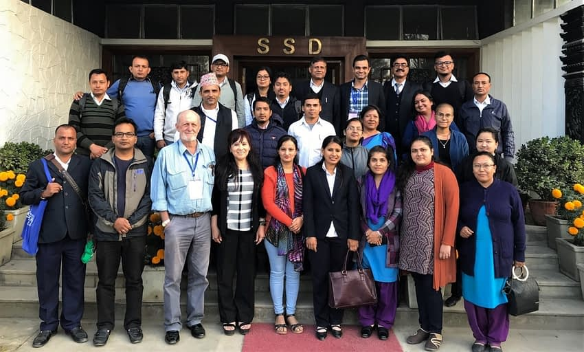 Murray-Prior and Rola-Rubzen pose for a group photo with SRFSI training participants in Kathmandu, Nepal.