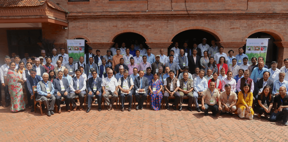Participants of the preliminary mid-term review of the National Seed Vision 2013-2025 workshop stand for a group photo. (Photo: Bandana Pradhan/CIMMYT)