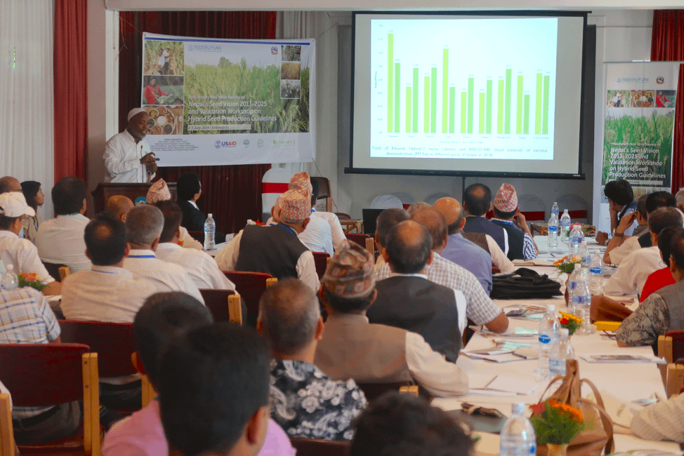 Seed systems specialist AbduRahman Beshir shares CIMMYT's experiences in hybrid testing and seed business promotion in Nepal. (Photo: Bandana Pradhan/CIMMYT)